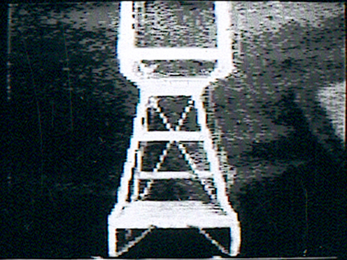 Peer Bode video still from Ladder (with vertical update, camera zoom and pan) 1981